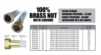 Flexible Hose - 100% Brass Nut With Chrome